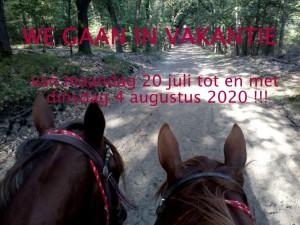 We gaan in vakantie van maandag 20 juli tot en met dinsdag 4 augustus 2020
